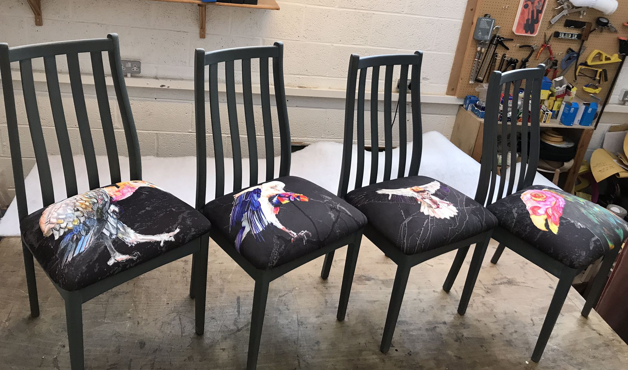 This set of 4 dining room chairs, featuring my latest hand ...