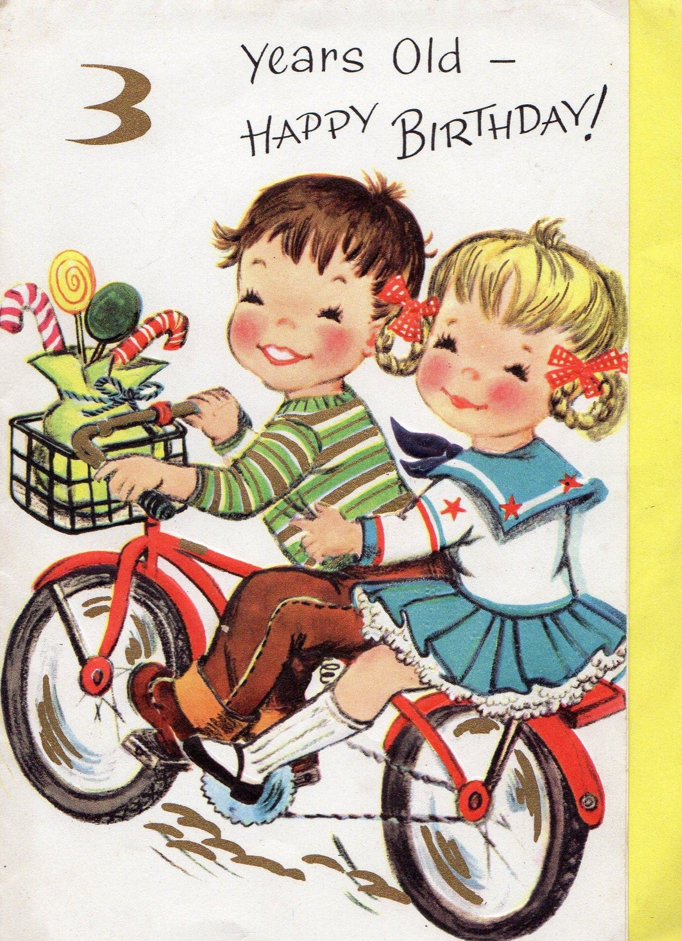 Vintage 3 Year Old Birthday Card Vintage Birthday Cards Vintage Holiday Cards Old Birthday Cards