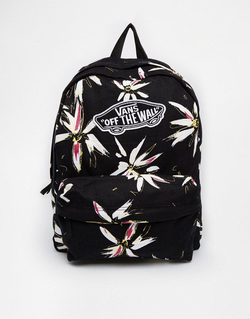 Vans Realm Backpack In Black Floral Print Accessories Beauty