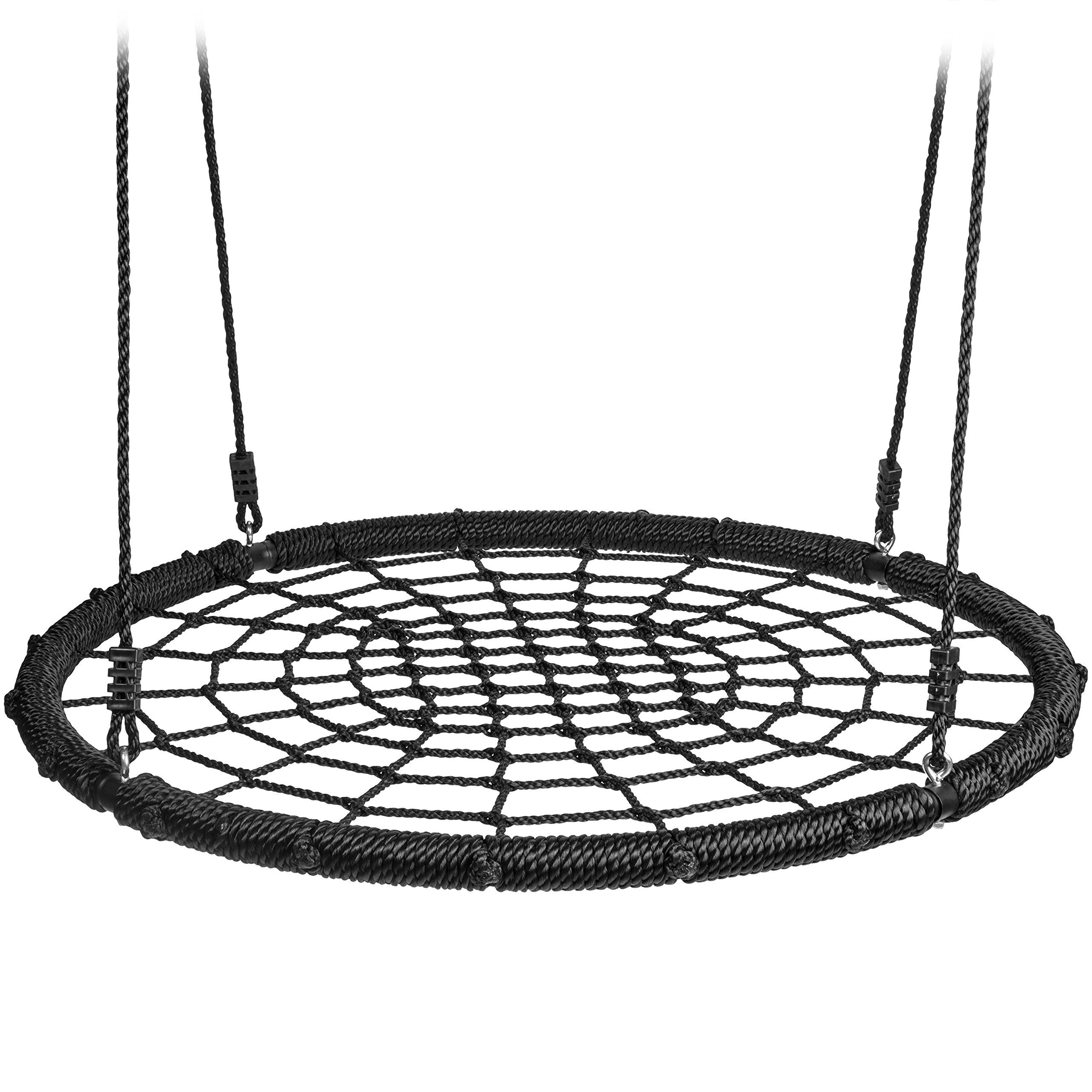 40 Inch Net Spider Web Round Swing Saucer Safety Rating Over 600 Pounds Heavy Duty Adjustable 6ft Pe Hanging Hanging Rope Pergola Pictures Swing Set Anchors