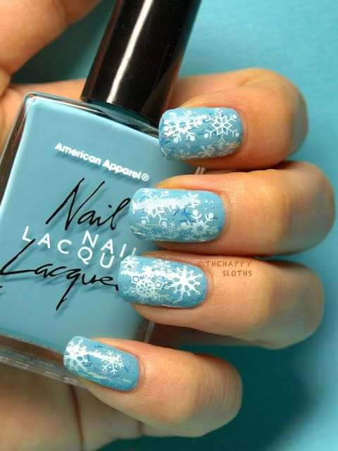 The Happy Sloths: Winter Wonderland Nails: Manicure Featuring Snowflake Water Decals