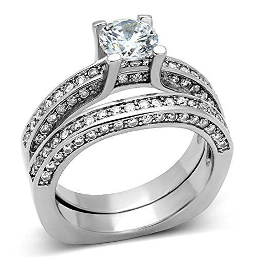 Round Cut Cubic Zirconia Stainless Steel Vintage Wedding Ring Set Womens Non Tarnish