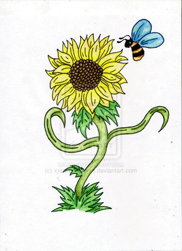 Bumblebee On Sunflower Tattoo Design   Tattoobite.com