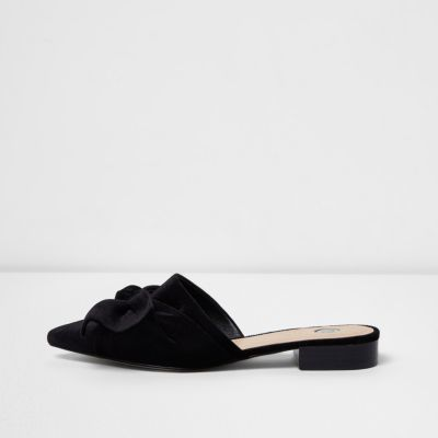 Womens Black bow detail suede loafers River Island