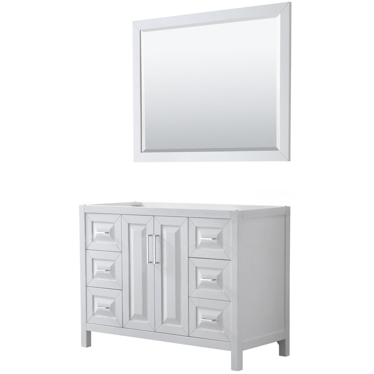 Daria 48 Inch Single Vanity In White No Top 46 Inch Mirror