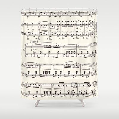 Items Similar To Sheet Music Shower Curtain   Black And Cream Sheet Music  Fabric Curtain Music Vintage Sing, Musician Gift Decor, Bathroom Home On  Etsy