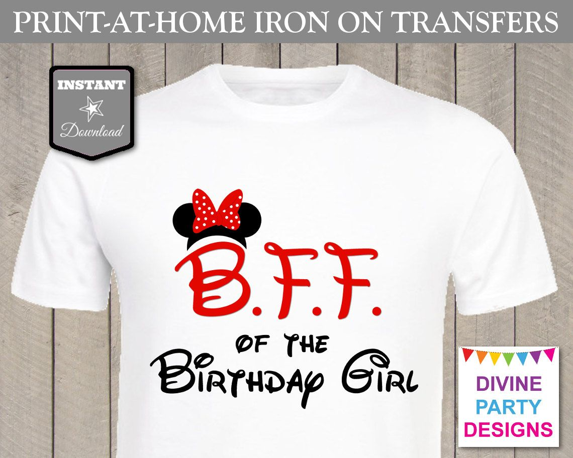 Red minnie mouse b f f best friend of the birthday girl for Create your own iron on transfer for t shirt