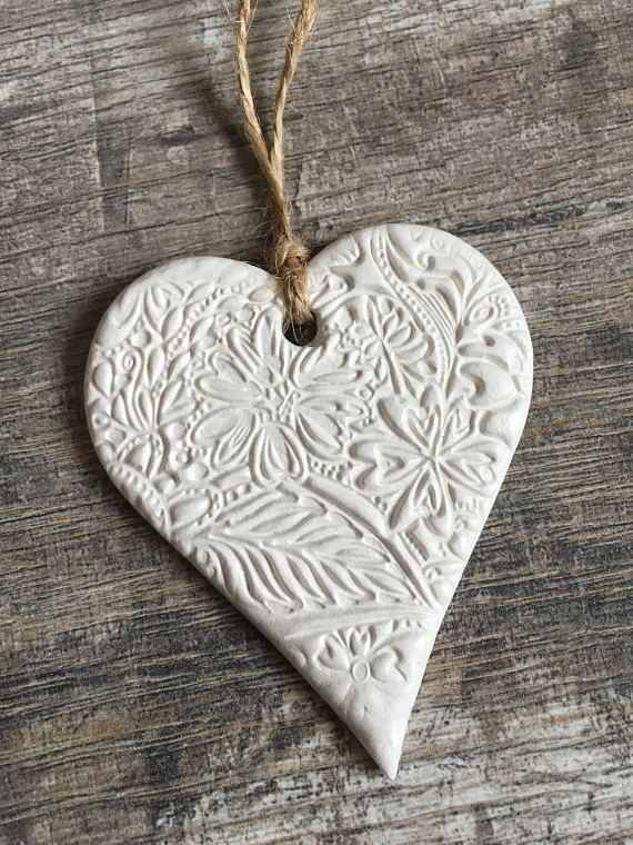 Photo of Hanging Heart Decoration – Heart Ornament, White Clay, Floral Pattern, Distanced Gifting, Letterbox Gift