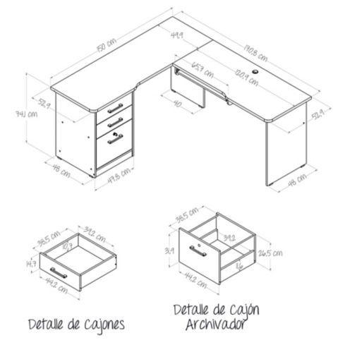 Centro Trabajo en L con Archivador 73.3x170x150cm Wengue | Wengue ...
