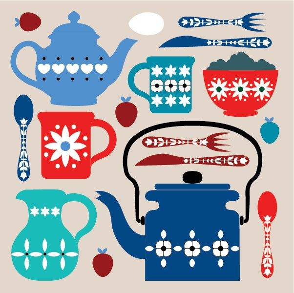 Retro breakfast and stacked cups cards in 3 colourways - 6 pack. $9.00, via Etsy.