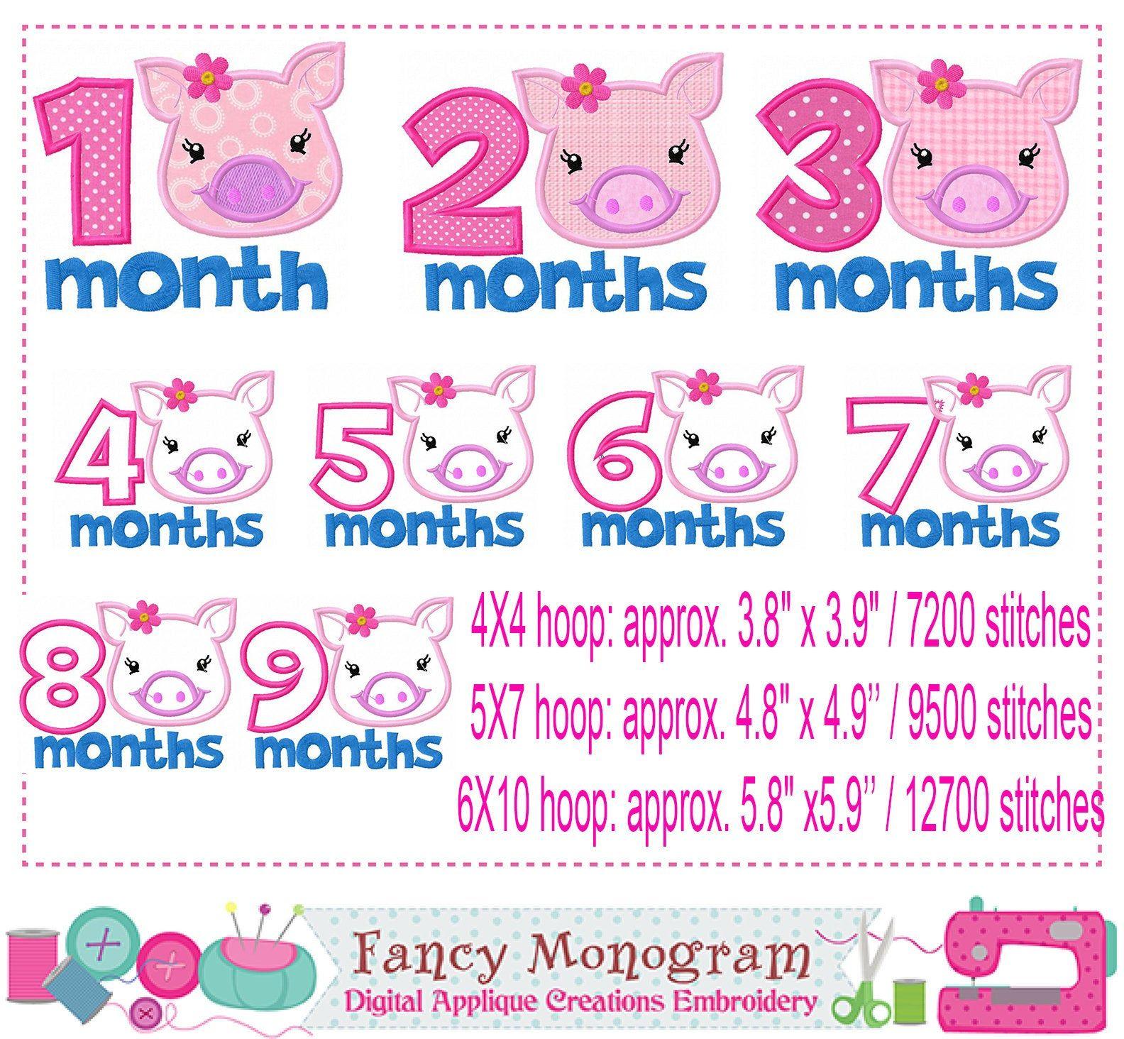 Piggy Babies Months Embroidery