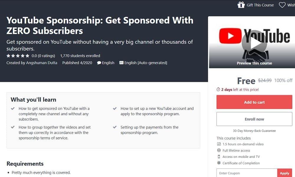 Youtube Sponsorship Get Sponsored With Zero Subscribers In 2020 Youtube Sponsorship Sponsorship Program Youtube