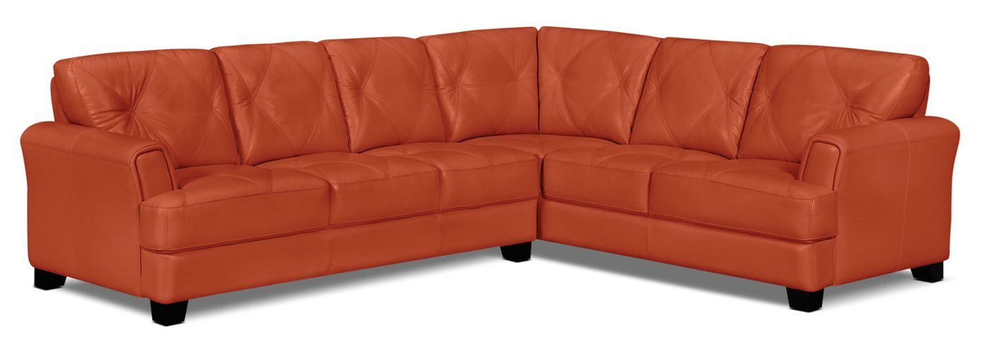 Vita 2 Piece 100 Genuine Leather Right Facing Sectional Terracotta With Images Genuine Leather Sofa Sectional Leather Loveseat