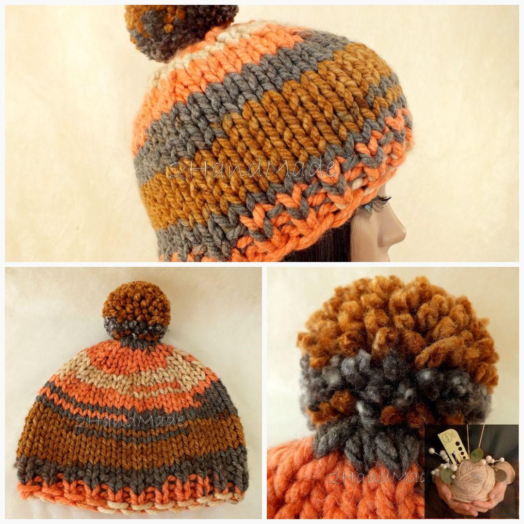 Super Chunky Hand Knit Hat Merino Wool Beanie Rain Ribbed Skull Cap Striped Unisex Colorful Men Women Teens Pom Pom