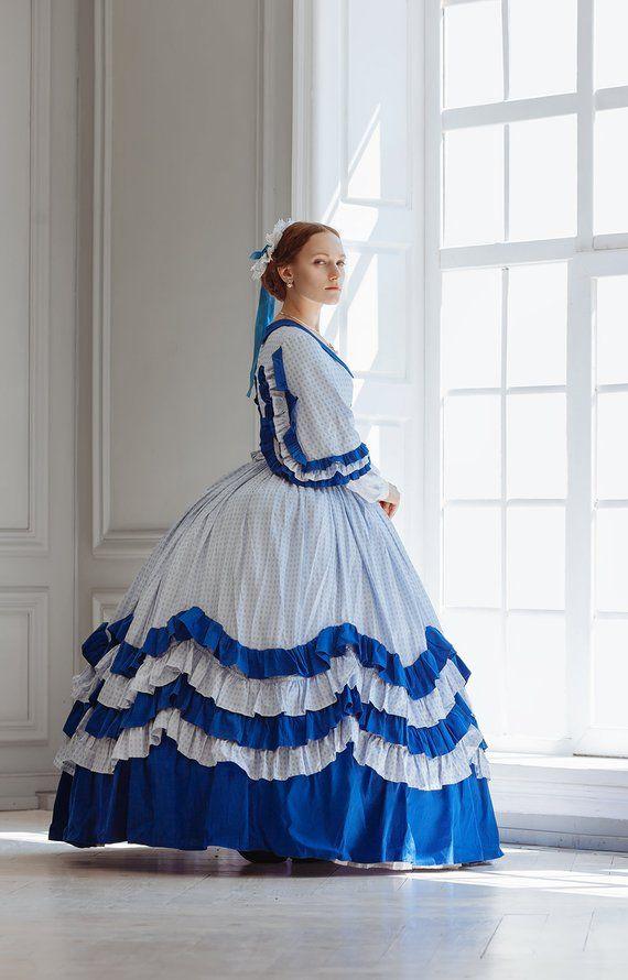 1860s Blue Civil War Uniform Victorian Ball Gown Southern Belle Dress Costume