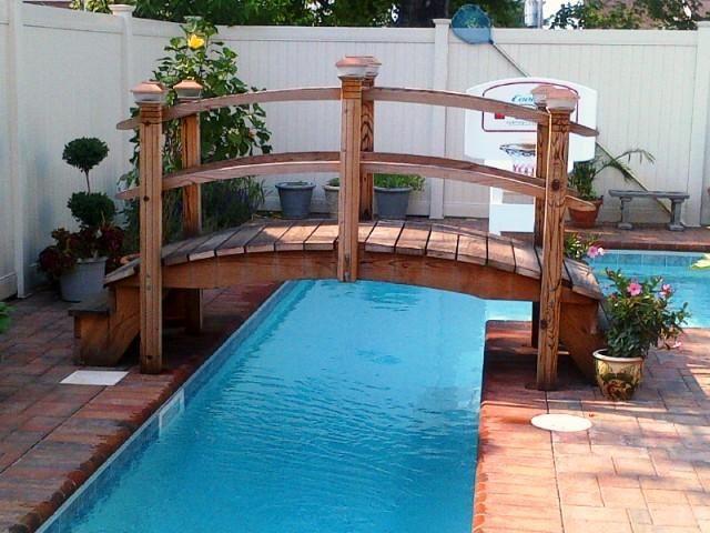 9 foot step bridge over a lap pool in NY | Backyard pool ...
