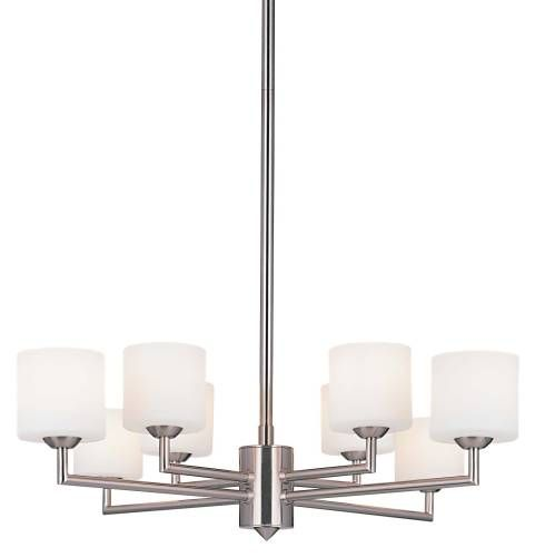 George Kovacs P8078-084 George Kovacs P8078-084 Mini Chandelier in Brushed Nickel finish with Cased Etched Opal Glass     hansenwholesale.com