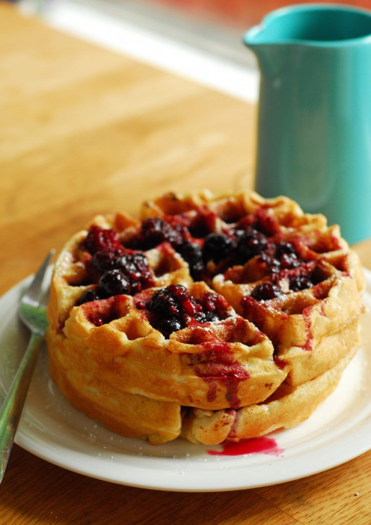 Cheesecake stuffed waffles with berry syrup a ducks