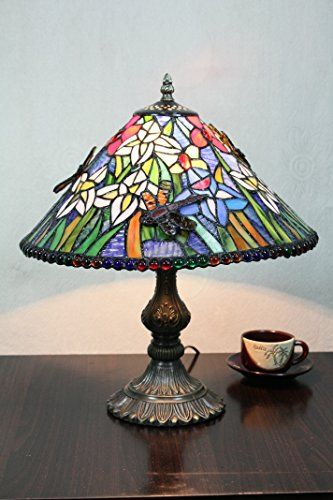 14-Inch Vintage Pastorale Dragonfly Stained Glass Tiffany Table Lamp