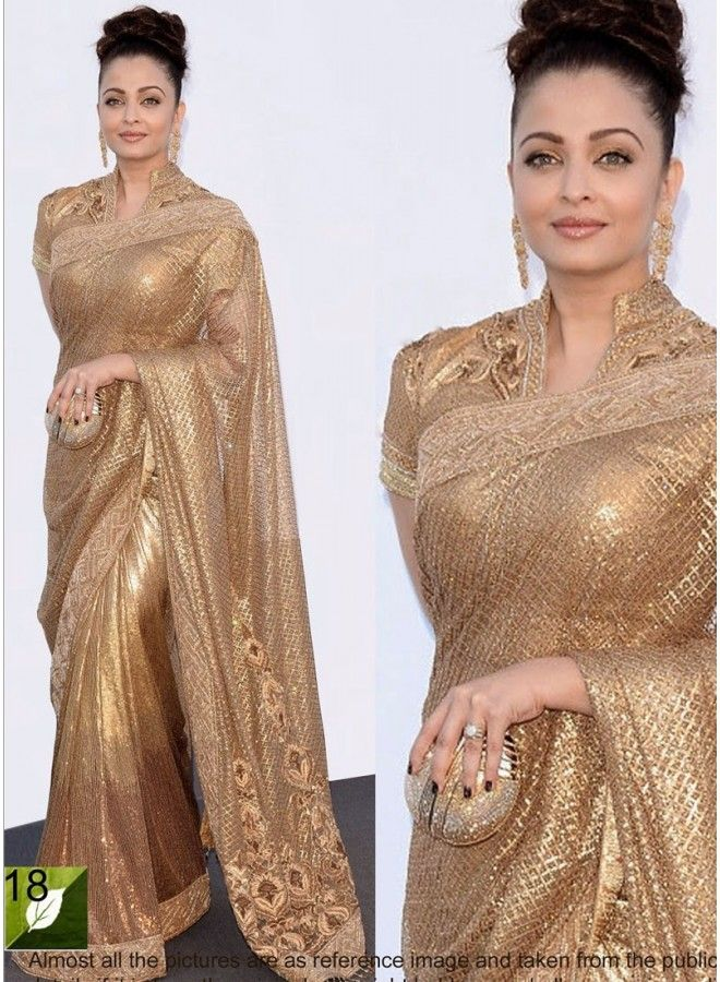 b441d7e642 Aishwarya Rai Golden Embroidery Work Bollywood Saree www.angelnx.com ...