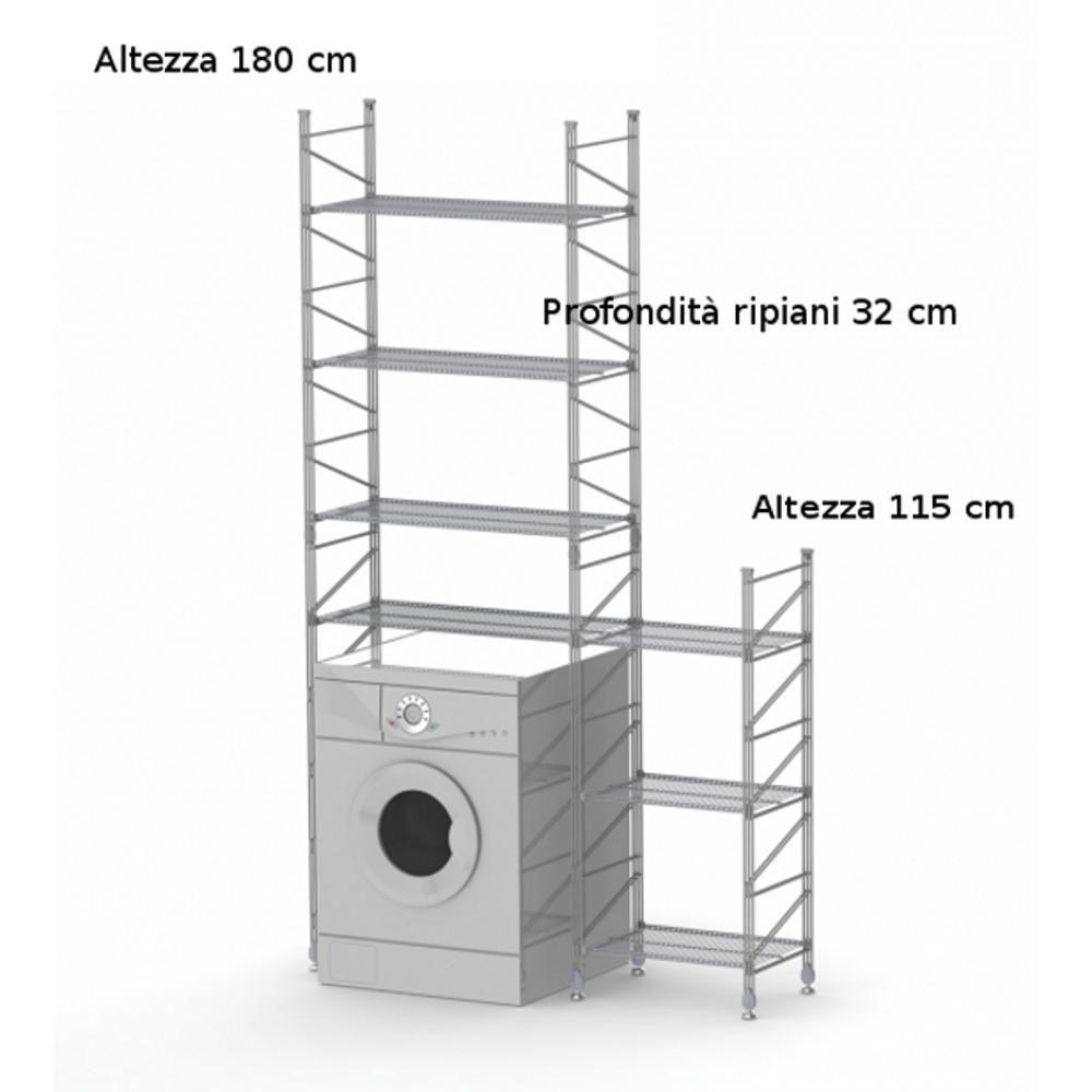 Scaffalature Acciaio Componibili.Scaffale Componibile Modulo Lavatrice 32xh180 32xh115 Cm