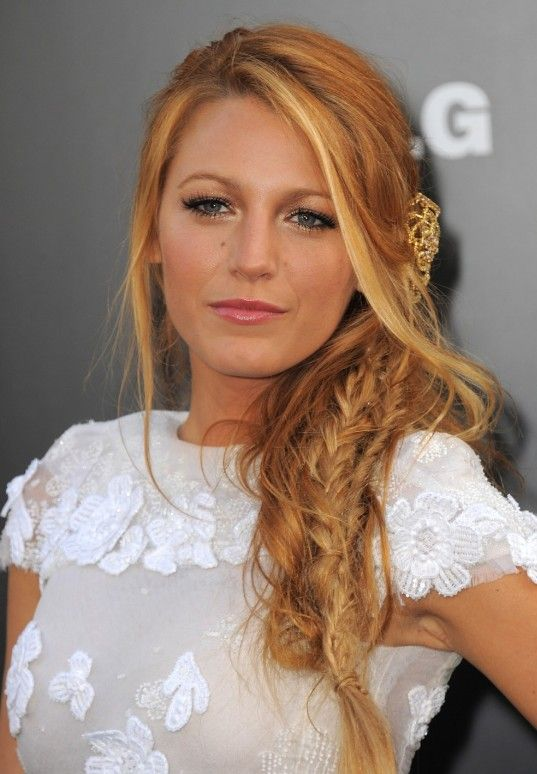 Blake Lively Messy Side Fishtail Braid Hairstyle