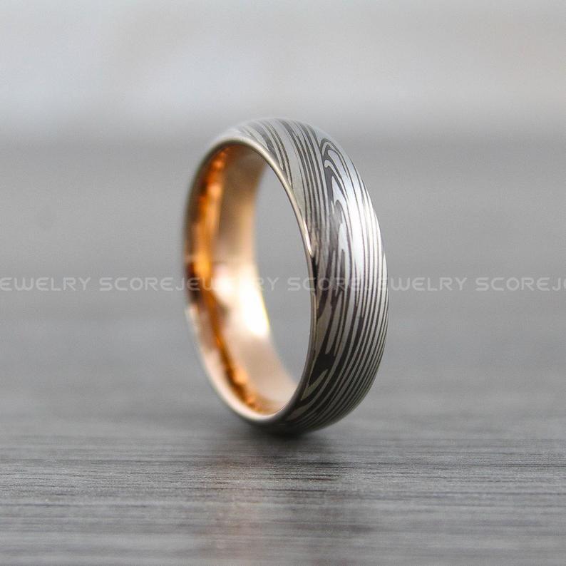 Damascus Steel Ring Damascus Steel Wedding Band Gunmetal Etsy Damascus Steel Ring Rose Gold Tungsten Band Damascus Steel Wedding Band