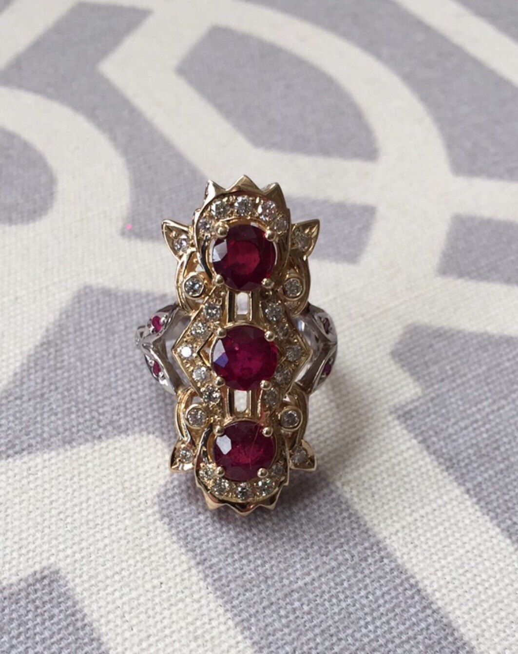 Art Deco Gold, Ruby, and Diamond Coctail Ring  by TheEstateRoom on Etsy https://www.etsy.com/listing/215132399/art-deco-gold-ruby-and-diamond-coctail
