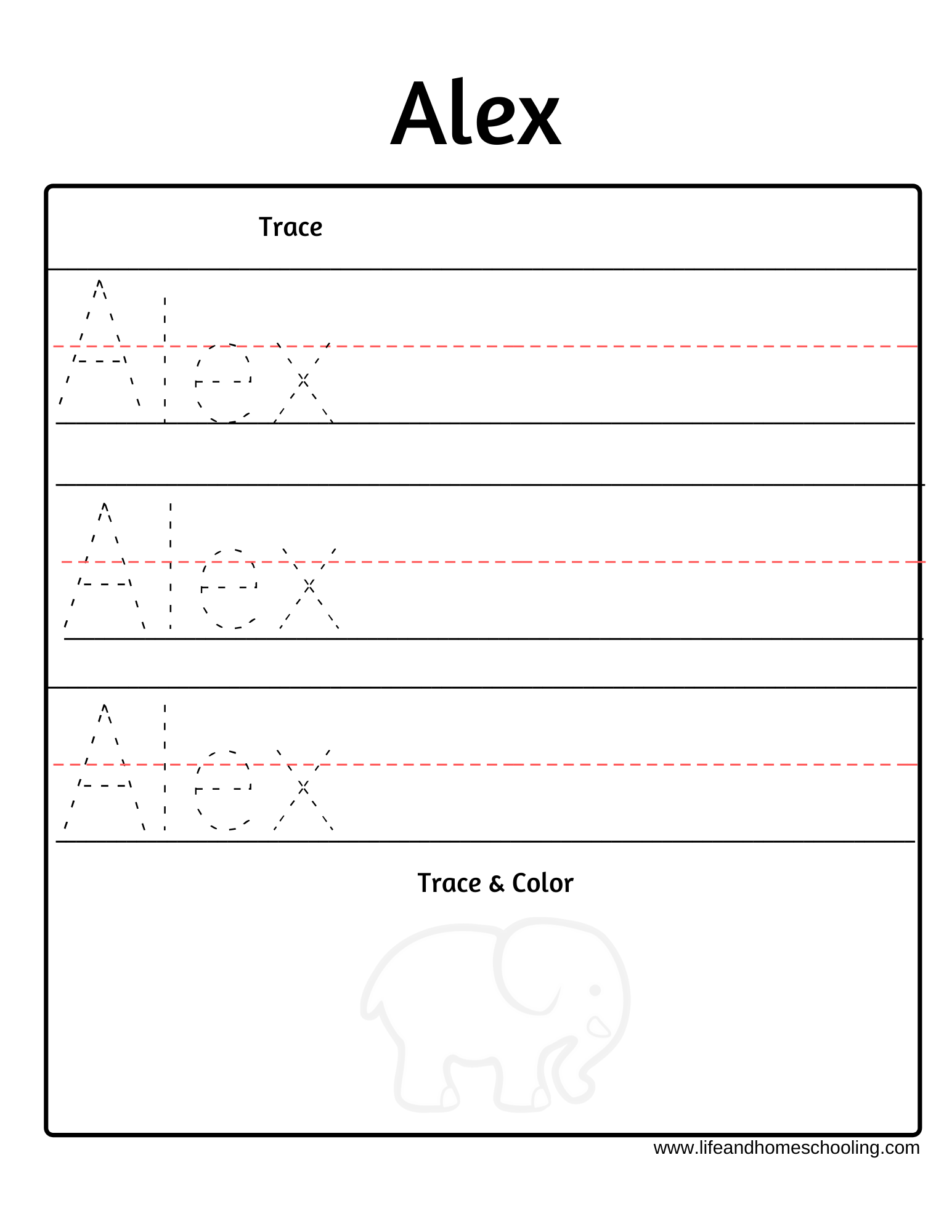 Free Trace My Name Worksheet For Boy Names That Start