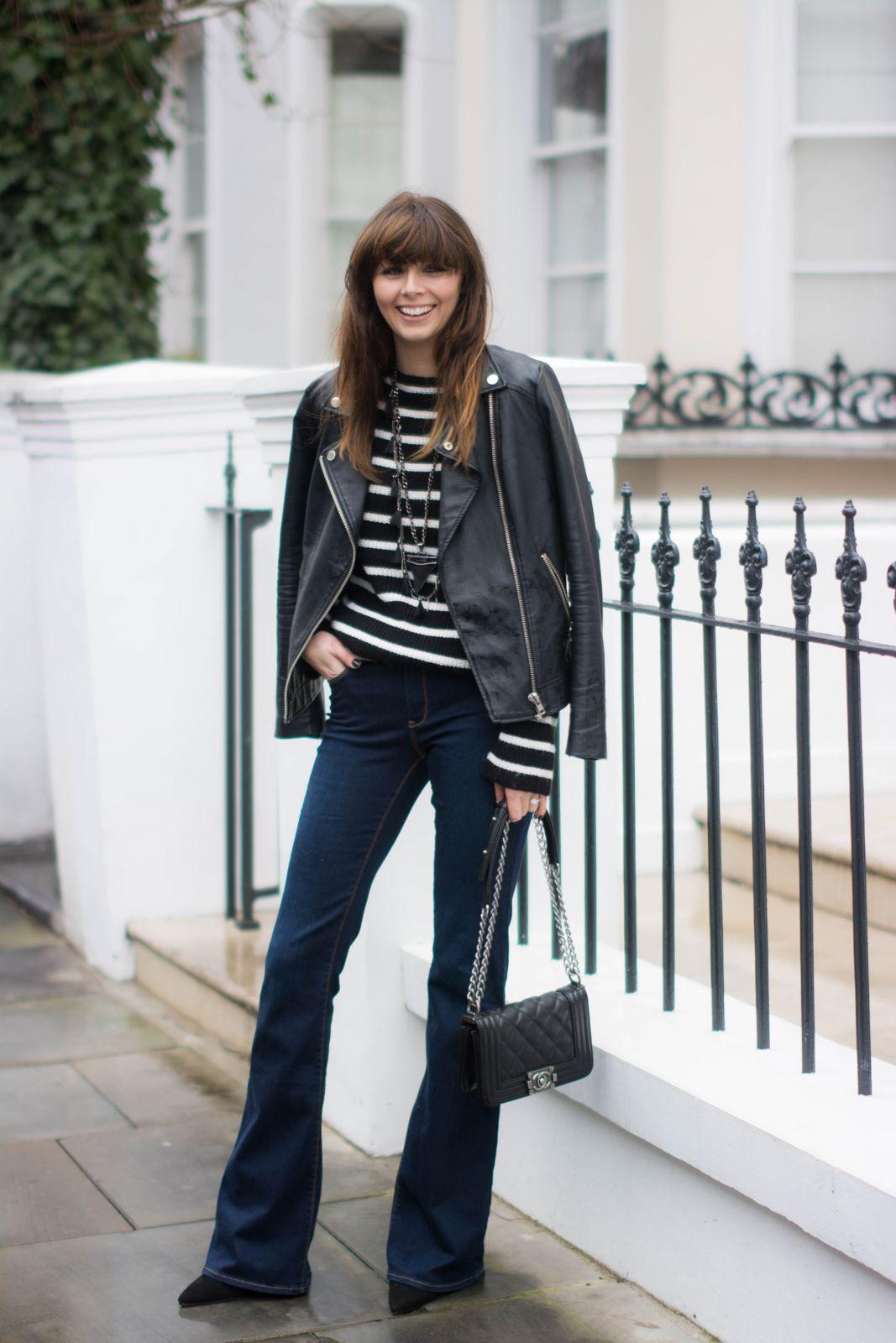 EJSTYLE - Zara flared jeans, Zara black white striped jumper ...