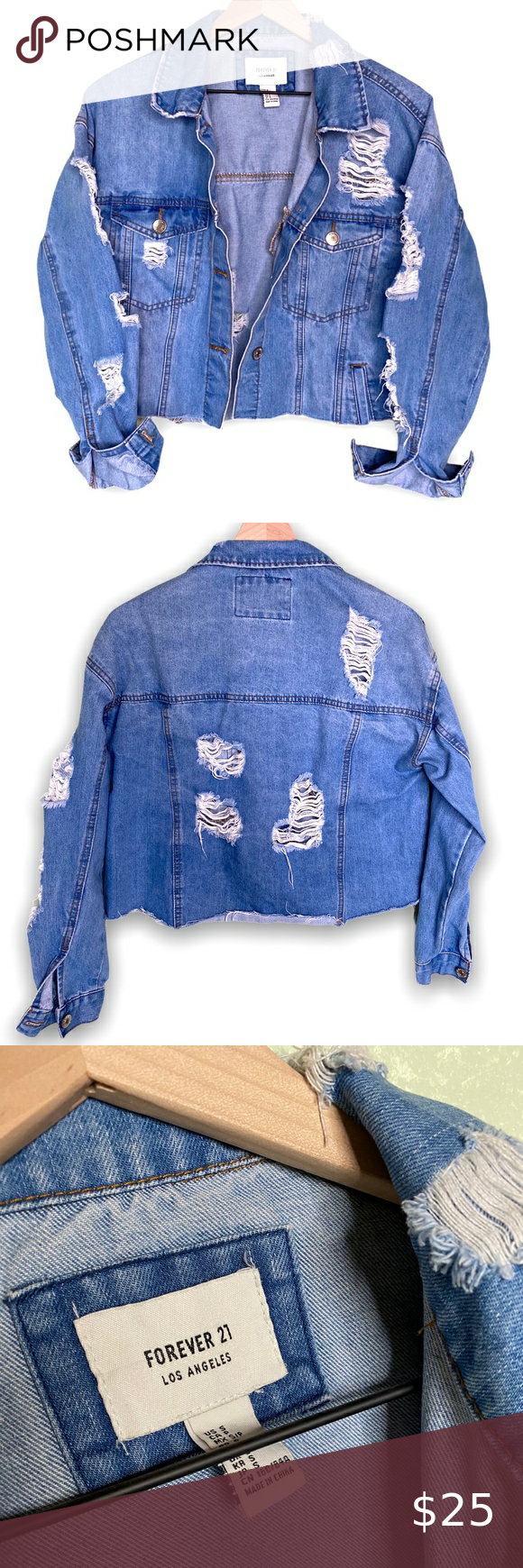 Forever21 Oversized Distressed Jean Jacket Small Distressed Jean Jacket Pink Denim Jacket Denim Jacket Women [ 1740 x 580 Pixel ]