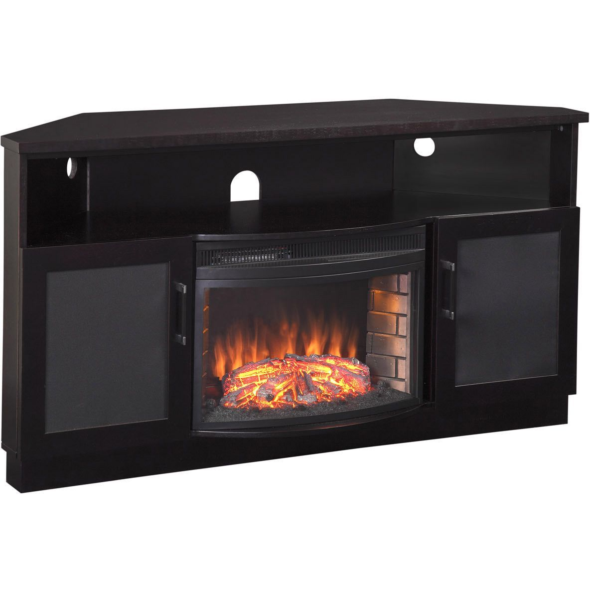"Corner Electric Fireplaces Home Depot Furnitech Corner Tv Stand Electric Fireplace For 65"" Tv"