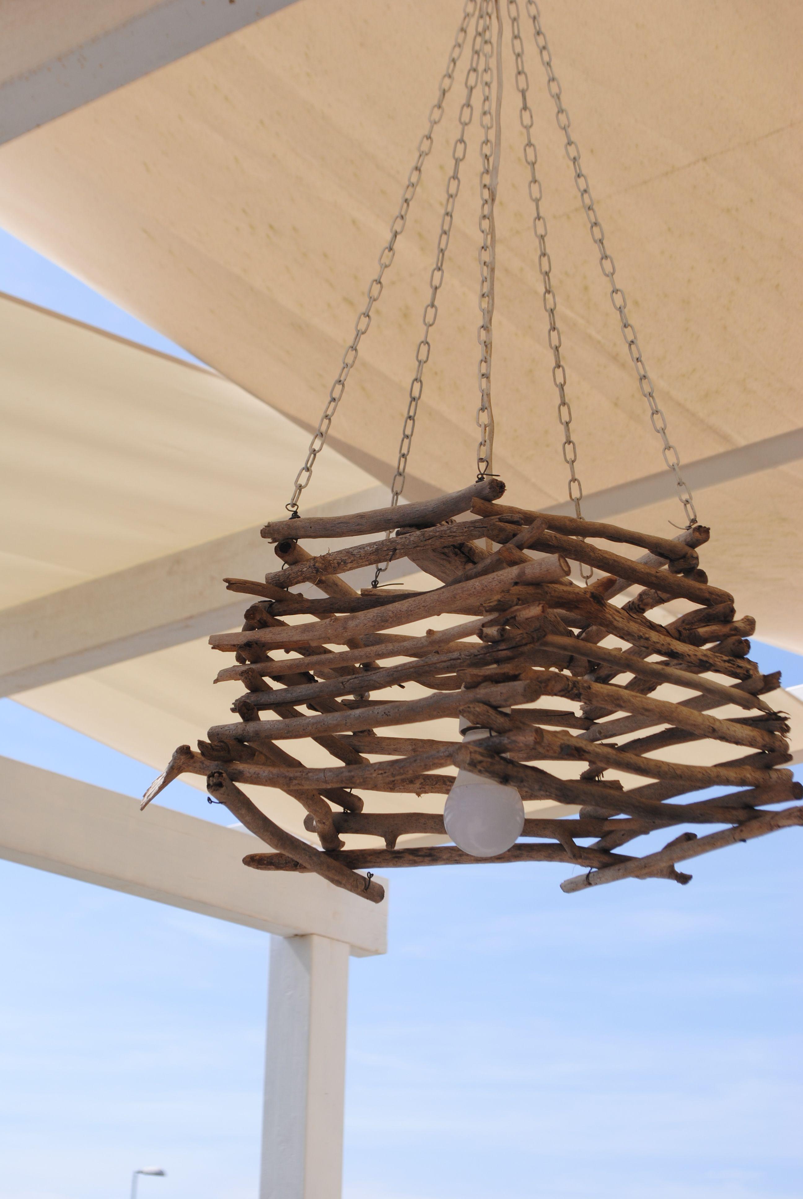 Lampadari Per Casa Al Mare lampadario x esterno realizzato con legnetti di mare (con