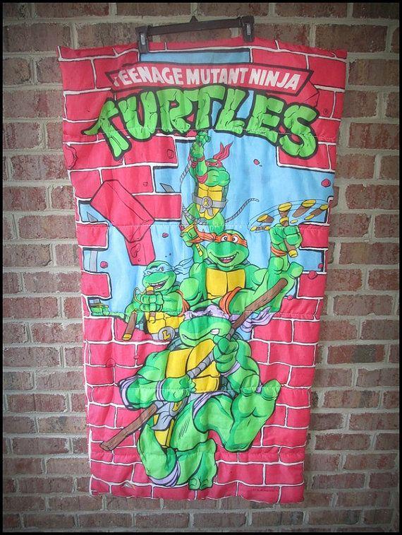 Vintage 80 S Age Mutant Ninja Turtles Sleeping Bag By Charchaicvintage 25 00