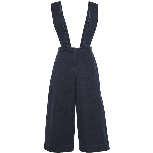 Tibi Denim Overalls With Removable Straps (£235) ❤ liked on Polyvore featuring jumpsuits, tibi jumpsuit, bib overalls, tibi, overall jumpsuit and overall