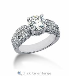 The Ziamond Cubic Zirconia 1.5 Carat Round & Pave Gramercy Solitaire Engagement Ring.  A brilliant round 1.5 carat cz is beautifully highlighted by pave set rounds in addition to engraved and milgrain detailing.  The Gramercy Solitaire is also available with a .50 carat, .75 carat, 1 carat, 2 carat, or 3 carat round center.  $1395 #ziamond #cubiczirconia #cz #solitaire #ring #engagementring #weddingring #russianformula #14kgold #platinum