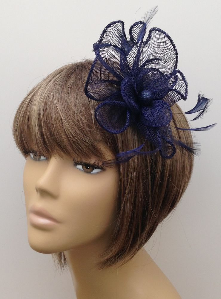 New Navy Blue Hair Fascinator Clip Brooch Pin Weddings Races Ladies Hen  Nights 19a7a7fc17a