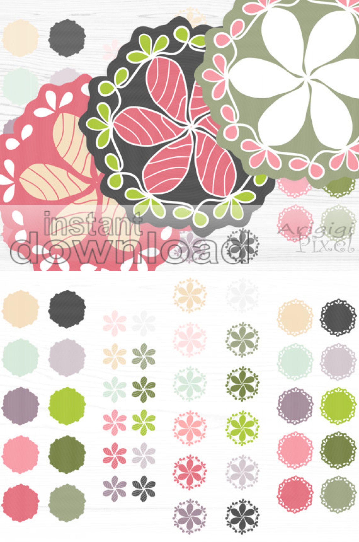 Spring Flower Doily Clip Art Frames Mix Match Pink And Green