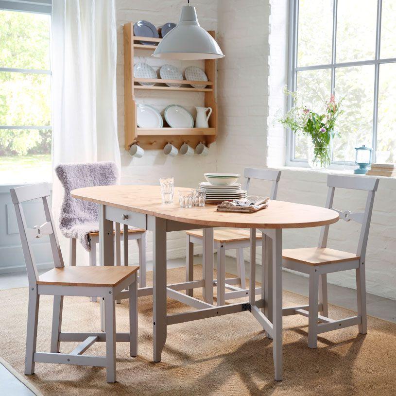 Comedor tradicional con mesa plegable y sillas gamleby de madera ...