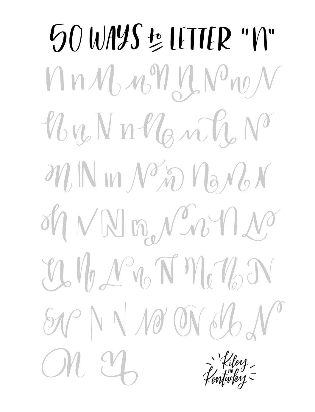 50 ways to letter n cursive letters pinterest 50th