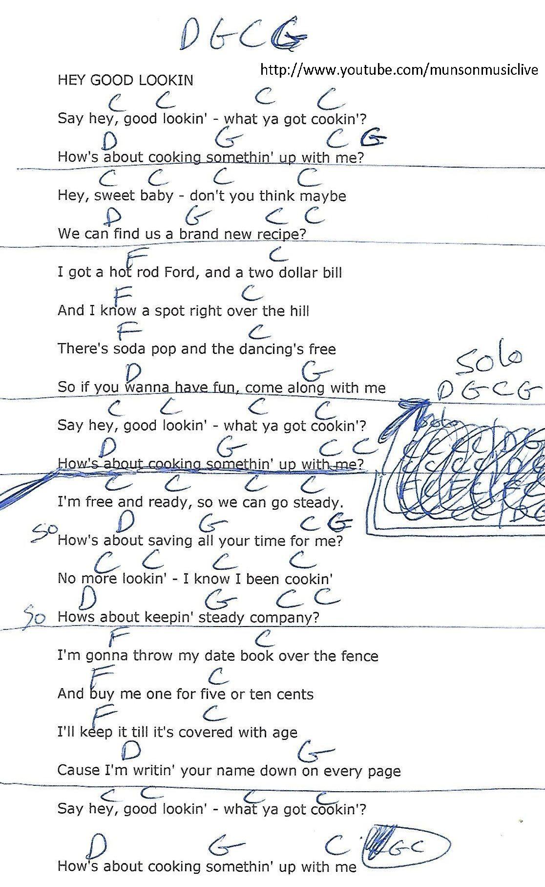 Hey Good Lookin Hank Williams Guitar Chord Chart Guitar Lesson