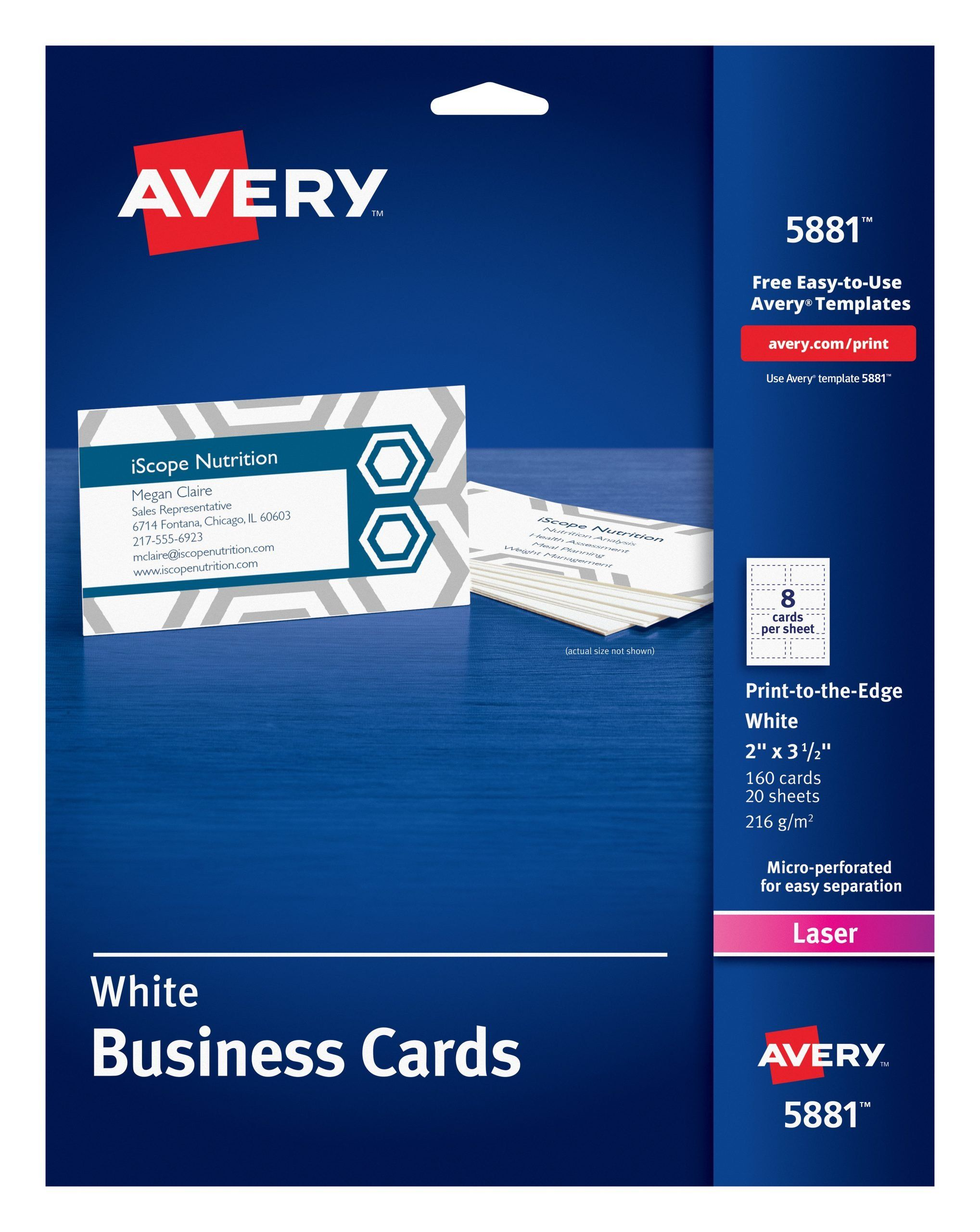Avery 5960 Labels Template Avery 5881 Print To The Edge Microperf Business Cards Color Laser 2 X 3 1 2 White P Label Templates Colorful Business Card Templates