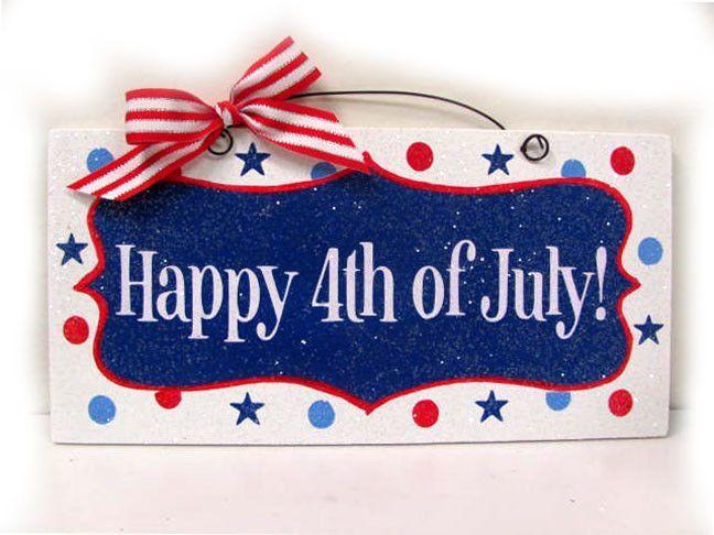 Happy 4th of July sign. Polka dot stars.