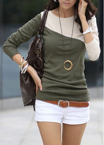 Fabulous Long Sleeve Color Block Woman T Shirt