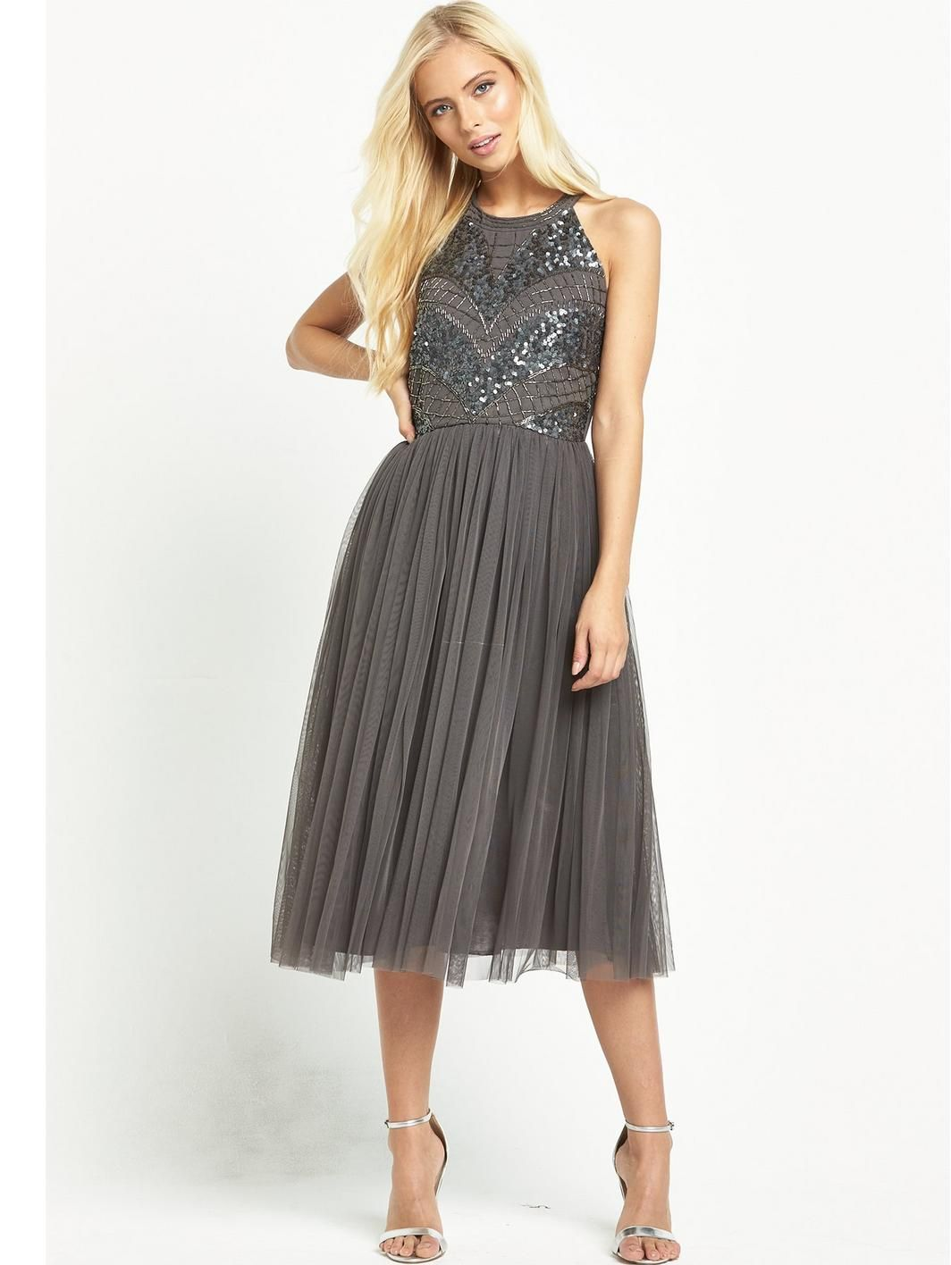 High neck embellished body dress grey httplittlewoods shop for dresses online with littlewoods ireland ombrellifo Image collections