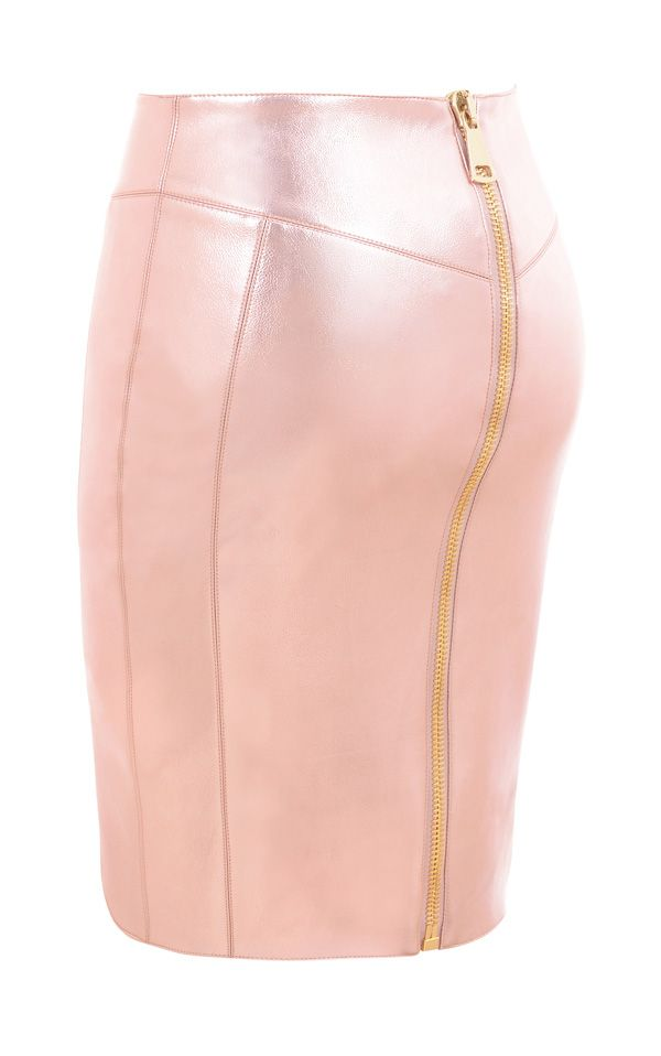 Clothing : Skirts : 'Kamina' Pale Pink Pearlised Leatherette Asymmetric Cut Skirt