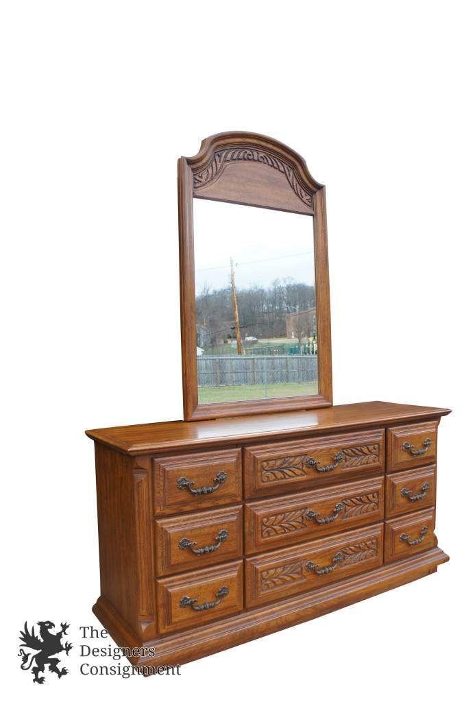 Sumter Cabinet 1970\'s Distressed Oak Carved 9 Drawer Dresser + ...