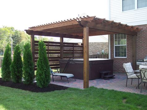 Pergola And Screening Provide A Hot Tub Oasis Hot Tub Patio Hot