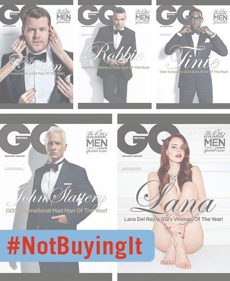 """GQ's """"Woman of the Year"""" is completely naked, while all the """"Men of the Year"""" are in identical tuxes #notbuyingit"""