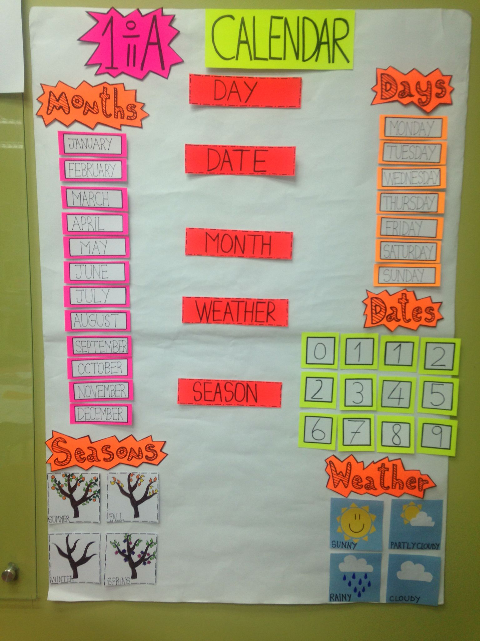 DIY didactic material for work: Days of the week, months and seasons ...